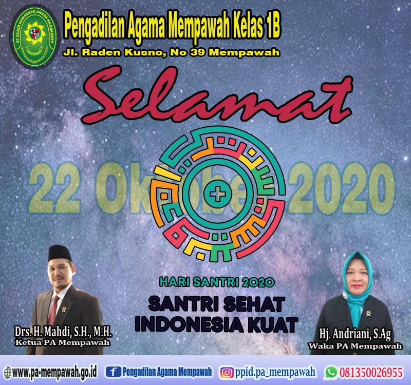 Keluarga Besar Penagdilan Agama Mempawah Mengucapkan Selamat Hari Santri Tahun 2020